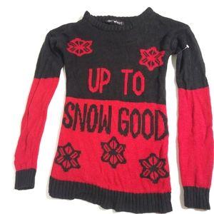 Derek Heart Sweater Upto Snow Good funny Christmas